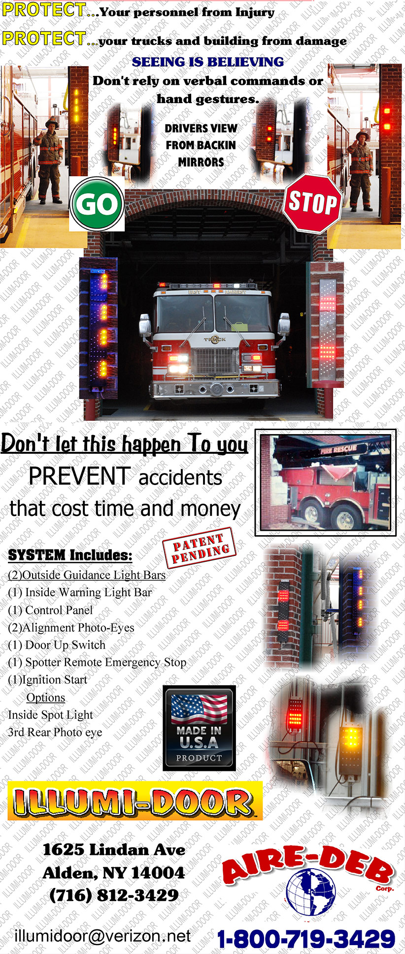 Fire Truck Back-in Safety Guidance System Floor Light Strips
